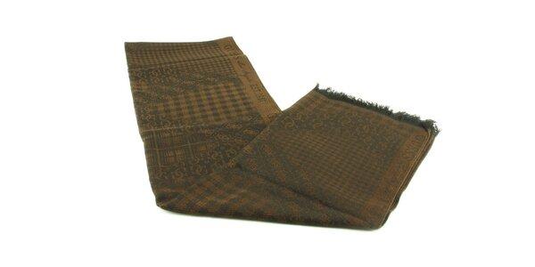 Dámsky tmavo hnedý vlnený šál Guess s čiernym vzorom