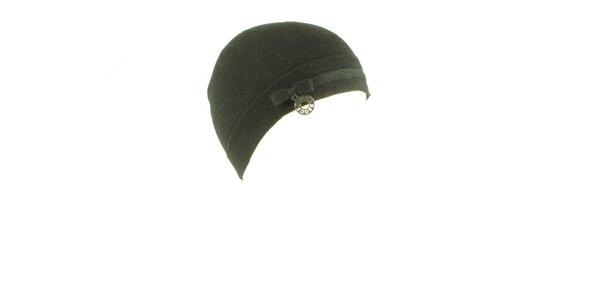 Dámska tmavo šedá vlnená čapica Guess s mašličkou