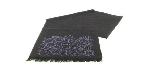 Dámsky tmavo fialový vlnený šál Guess