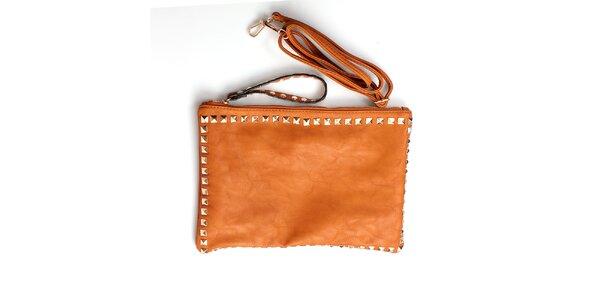 Dámska oranžovo-hnedá kabelka London Fashion so štvorhrannými cvočkami