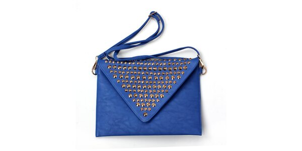 Dámska modrá kabelka so zlatými cvočkami London Fashion