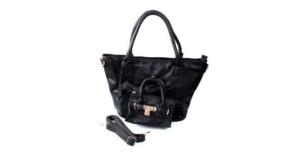 Dámska veľká čierna kabelka London Fashion s mini kabelkou