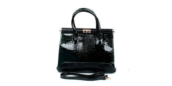 Dámska lesklá zelená kabelka London Fashion