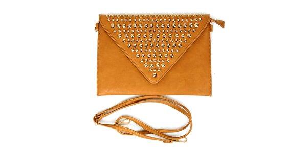 Dámska hnedošedá listová kabelka London Fashion s kovovými cvokmi