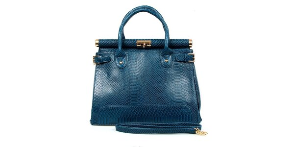 Dámska modrá kabelka so zámočkom London Fashion