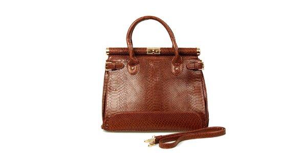 Dámska tmavo hnedá kabelka so zámočkom London Fashion