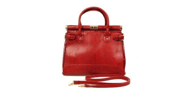 Dámska červená kabelka so zámočkom London Fashion