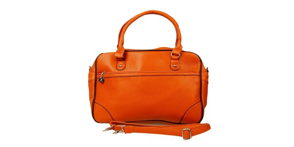 Dámska oranžová kabelka s čiernym lemovaním London Fashion