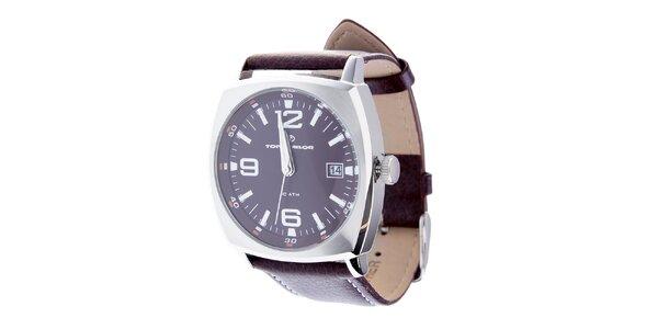 Pánske hnedé hodinky Tom Tailor s koženým remienkom
