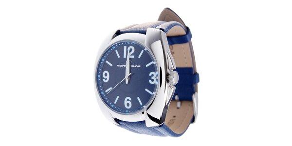 Pánske žiarivo modré hodinky Tom Tailor s koženým remienkom