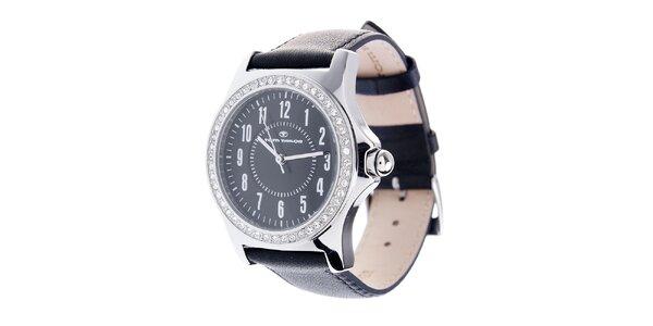Dámske čierne hodinky Tom Tailor s trblietavými kamienkami