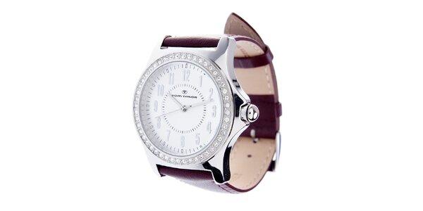 Dámske oceľové hodinky Tom Tailor s tmavo hnedým koženým remienkom