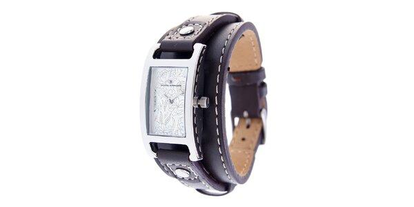 Dámske náramkové hodinky Tom Tailor s tmavo hnedým koženým remienkom