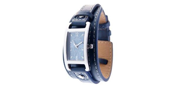 Dámske náramkové hodinky Tom Tailor s tmavo modrým koženým remienkom