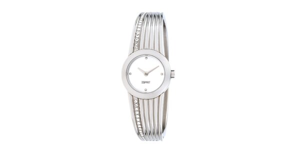 Dámske strieborné oceľové hodinky Esprit s kryštálmi