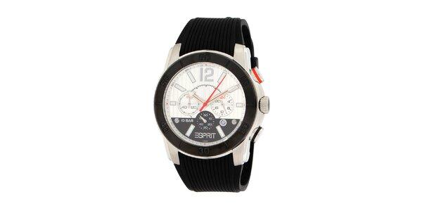 Pánske čierno-biele oceľové hodinky Esprit