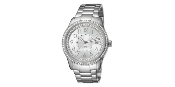 Dámske strieborné hodinky s kryštálikmi Esprit