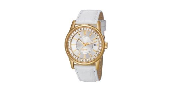Dámske zlato-biele hodinky s bielym remienkom Esprit