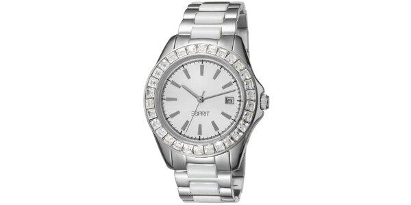 Dámske keramické hodinky Esprit strieborné s kamienkami