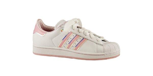 Dámske biele tenisky Adidas s ružovými detailami a gumovou špičkou