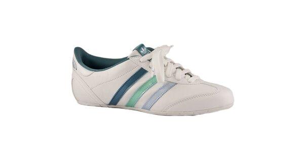 Dámske biele tenisky Adidas s farebnými prúžkami