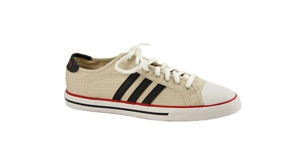 Pánske béžové plátené tenisky Adidas s čiernymi pruhmi