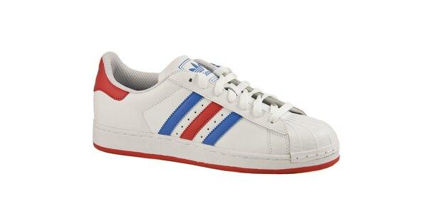 Pánske biele tenisky Adidas s farebnými prúžkami a gumovou špičkou