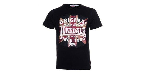 Pánske čierne tričko Lonsdale s farebnou potlačou