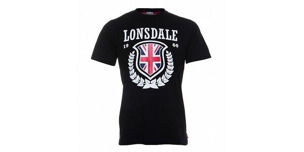 Pánske čierne tričko Lonsdale s bielou potlačou a anglickou vlajkou