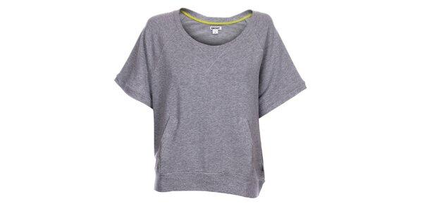 Dámske svetlo šedé melírované tričko DKNY