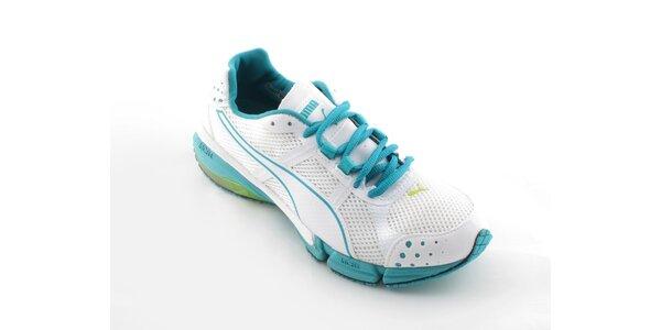 Dámske biele běžecké boty Puma s tyryksovými detailami