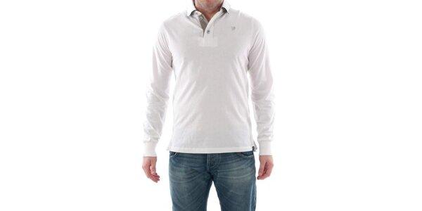 Pánske biele polo s dlhým rukávom Catbalou