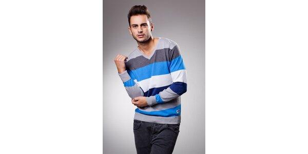 Pánsky modro-šedý prúžkovaný sveter Celop