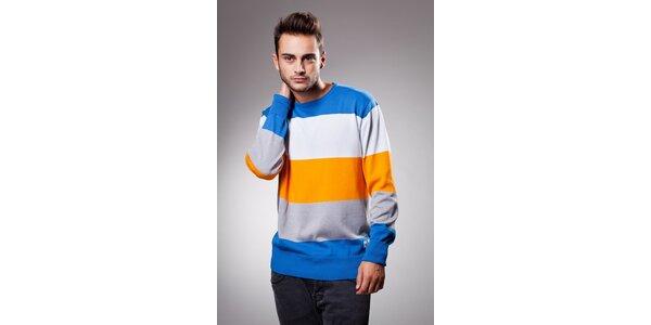 Pánsky modro-oranžový prúžkovaný sveter Celop