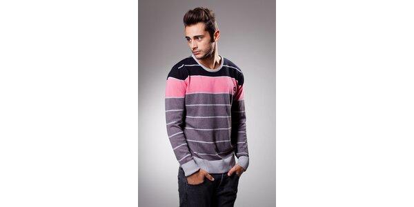 Pánsky ružovo-šedý prúžkovaný sveter Celop