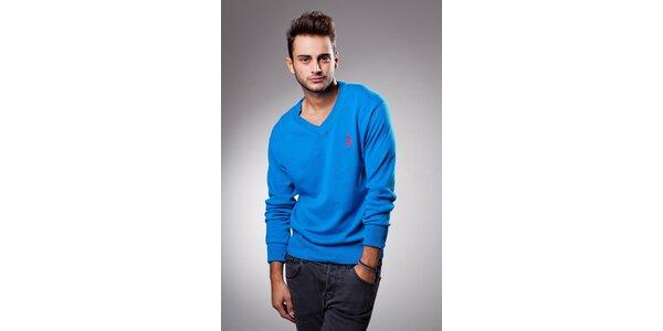 Pánsky žiarivo modrý sveter Celop