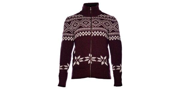 Pánsky vínový sveter Pepe Jeans s nórskym vzorom