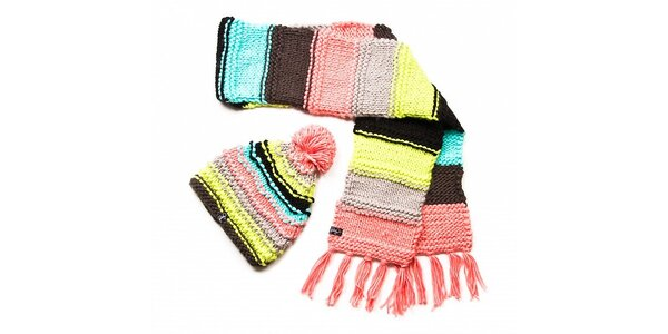 Dámsky pestrofarebný prúžkovaný pletený set Fundango