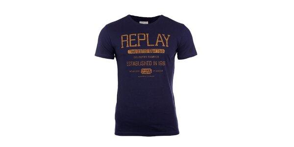Pánske modré tričko s horčicovým nápisom Replay