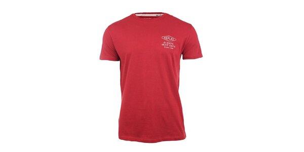 Pánske červené tričko s nápisom na chrbáte Replay