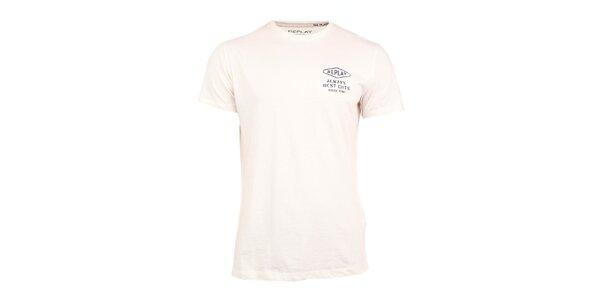 Pánske biele tričko s nápisom na chrbáte Replay