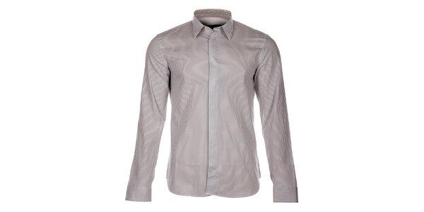 Pánska biela košeľa Calvin Klein s šedivým prúžkom