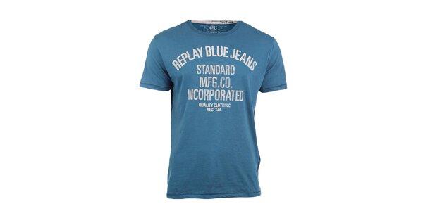 Pánske svetlo modré tričko s potlačou Replay