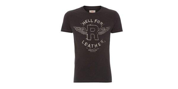 Pánske čierne tričko s potlačou Replay