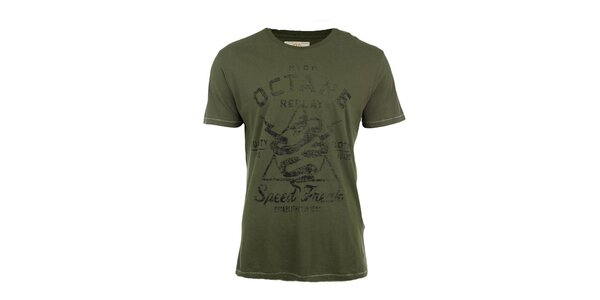 Pánske zelené tričko s potlačou Replay