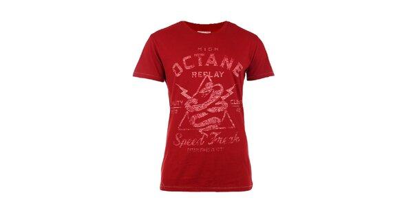 Pánske červené tričko s vintage potlačou Replay