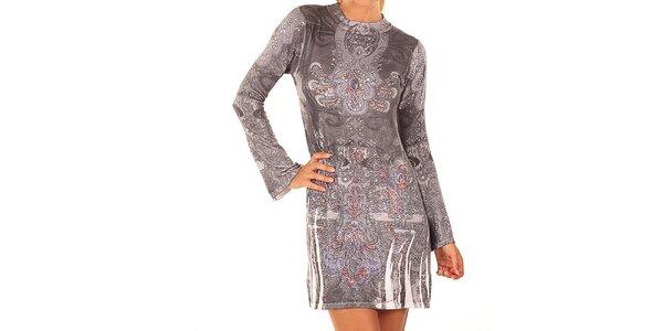 Dámske šedé šaty s farebnými kamienkami Ada Gatti