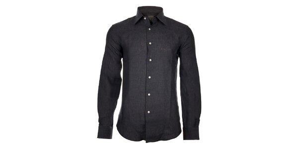 Pánska tmavo šedá ľanová košeľa Calvin Klein