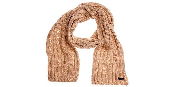 Dámska krémová pletená šála Fraas
