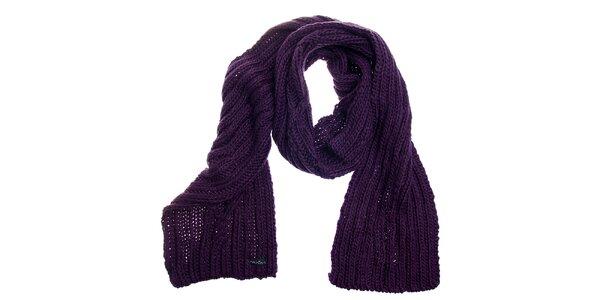 Dámska tmavo fialová pletená šála Fraas